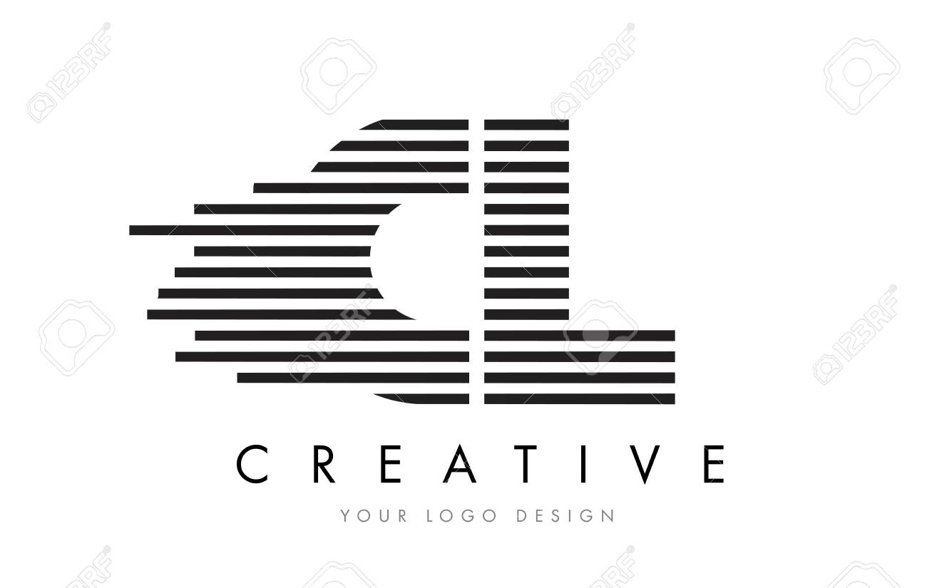 CL C L Zebra Letter Logo Design with Black and White Stripes Vector - 76221683