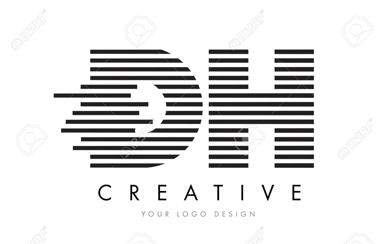 dh d h zebra letter logo design with black and white stripes