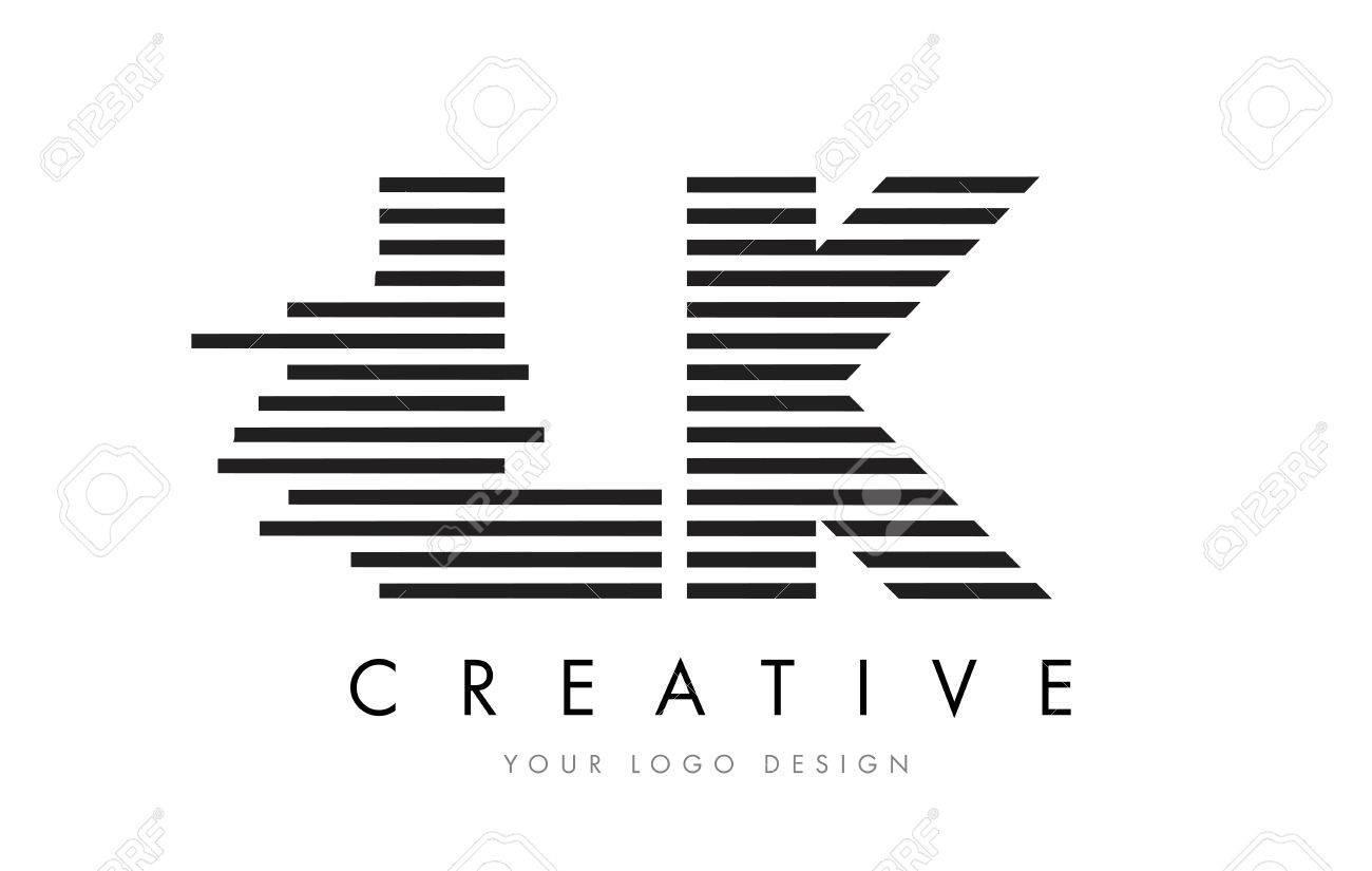 Lk L K Zebra Letter Logo Design With Black And White Stripes