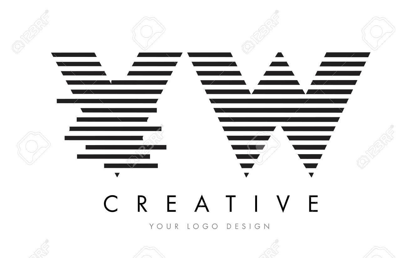Vw V W Zebra Letter Logo Design With Black And White Stripes