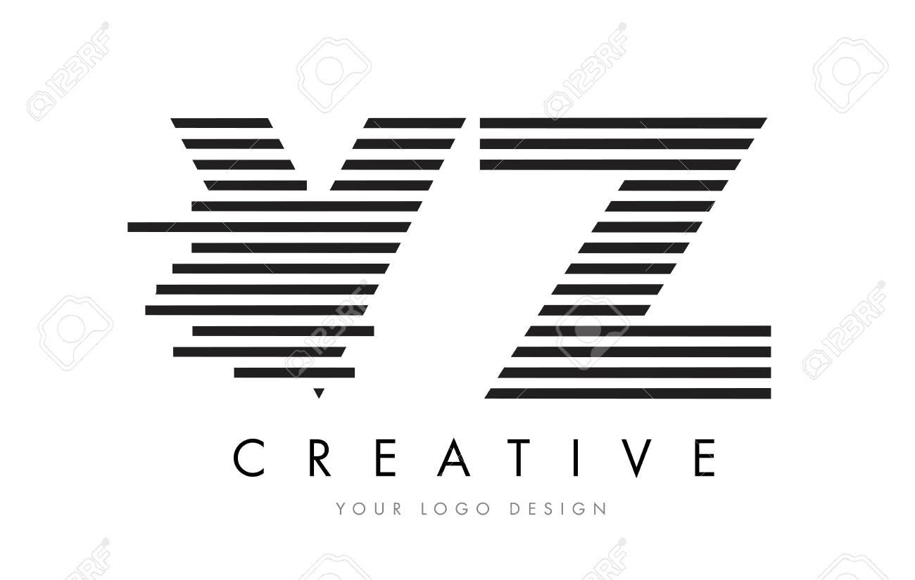 Vz V Z Zebra Letter Logo Design With Black And White Stripes