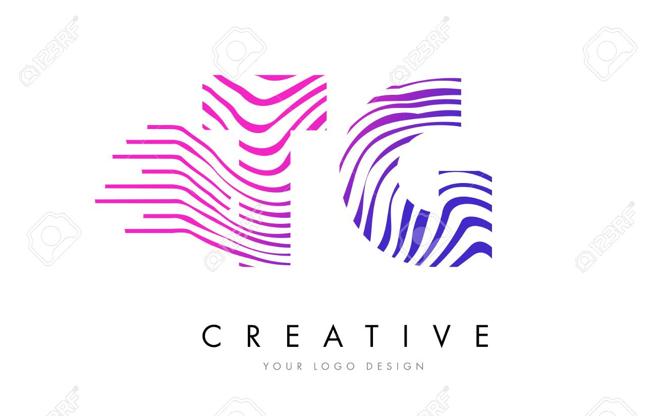 Tg T G Zebra Letter Logo Design With Black And White Stripes
