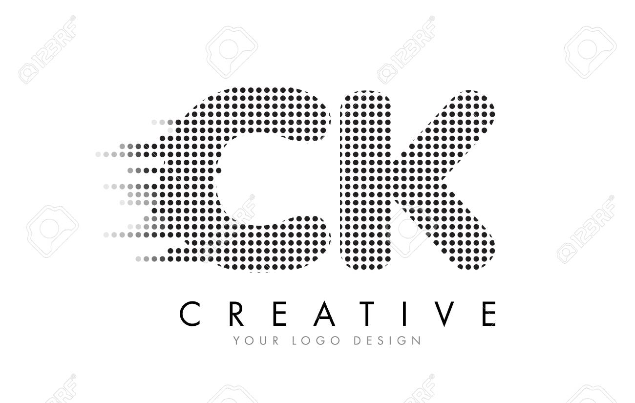 CK C K Letter Logo Design with Black Dots and Bubble Trails