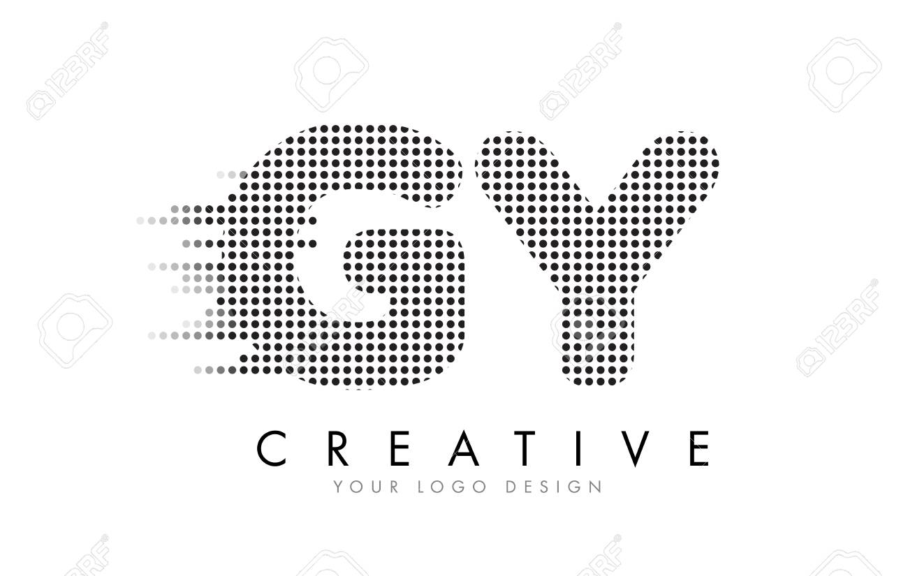 GY G Y Letter Logo Design with Black Dots and Bubble Trails. - 76866886