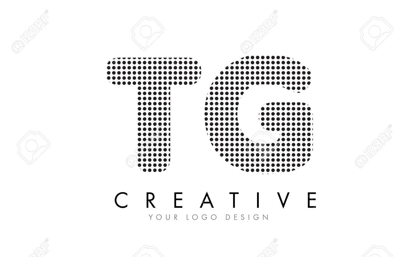 Tg T G Letter Logo Design With Black Dots And Bubble Trails