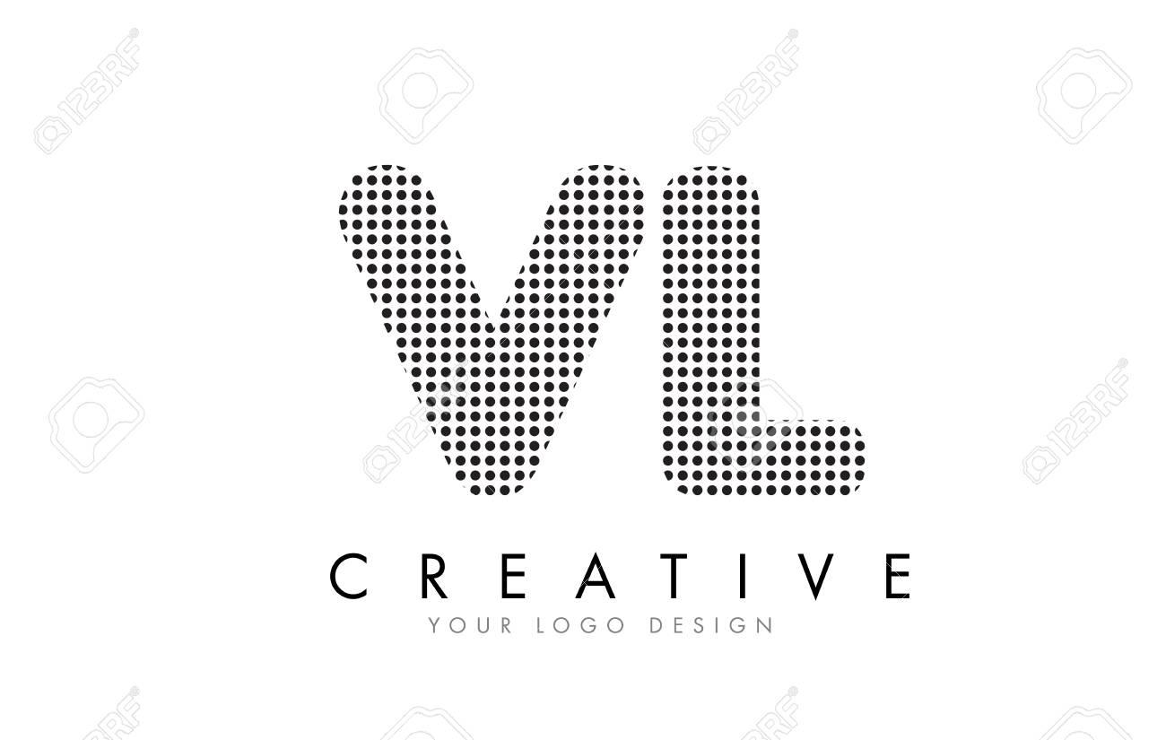 Vl V L Letter Logo Design With Black Dots And Bubble Trails