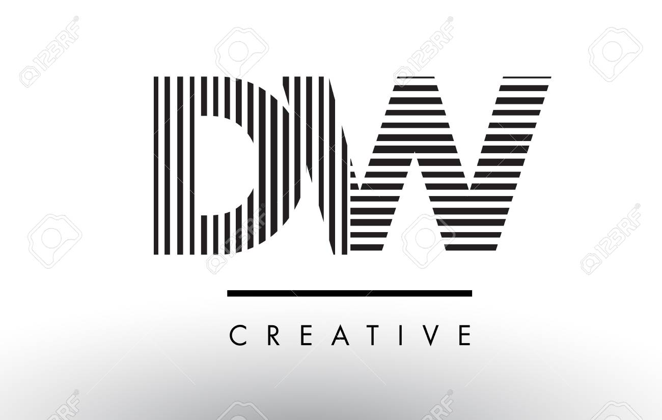 Dw D W Black And White Letter Logo Design With Vertical And