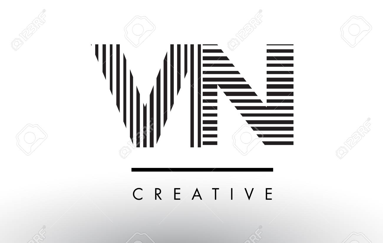 Vn V N Black And White Letter Logo Design With Vertical And