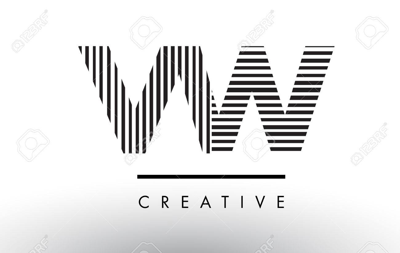 Vw V W Black And White Letter Logo Design With Vertical And