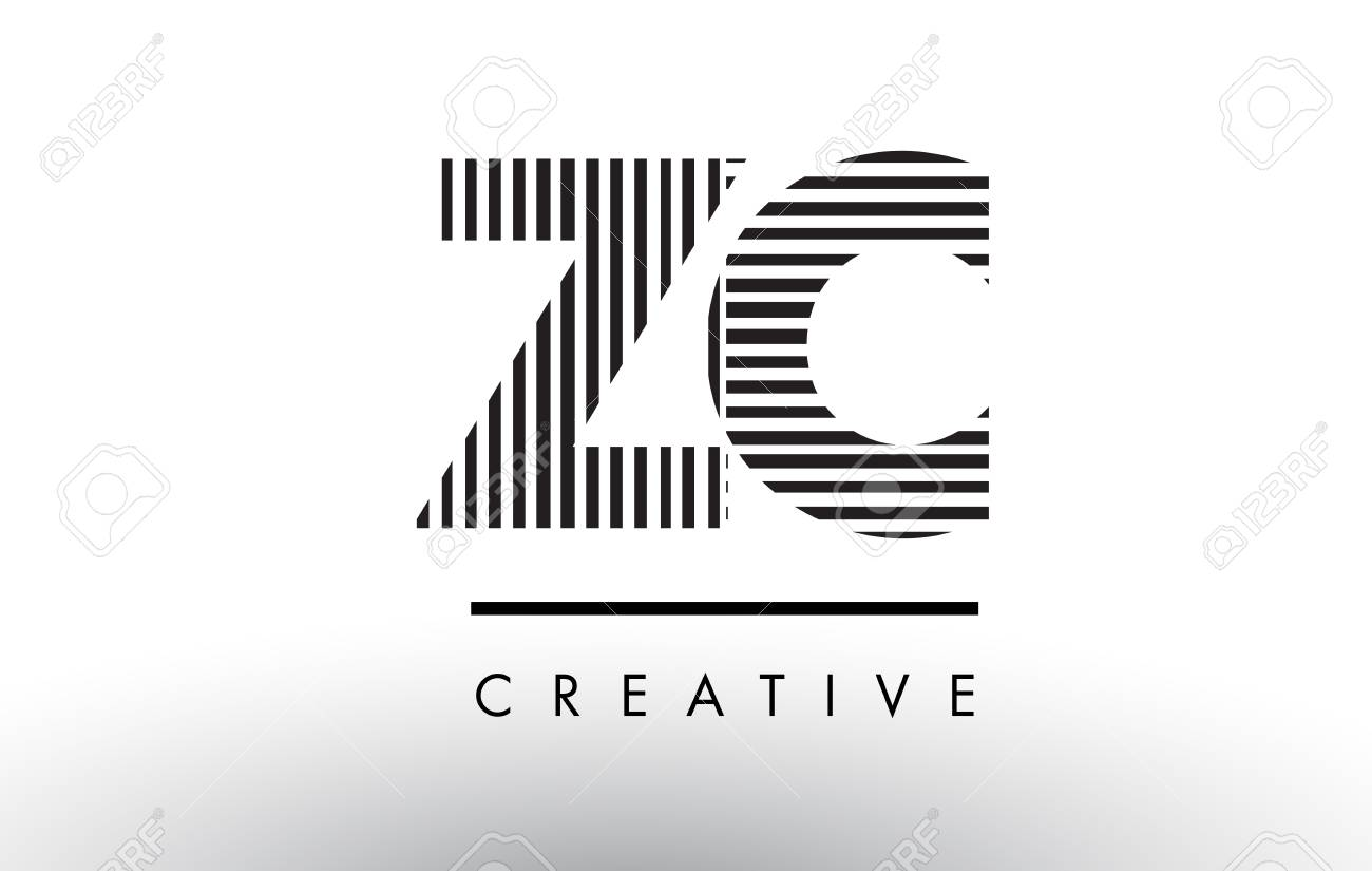 Zc Z C Black And White Letter Logo Design With Vertical And