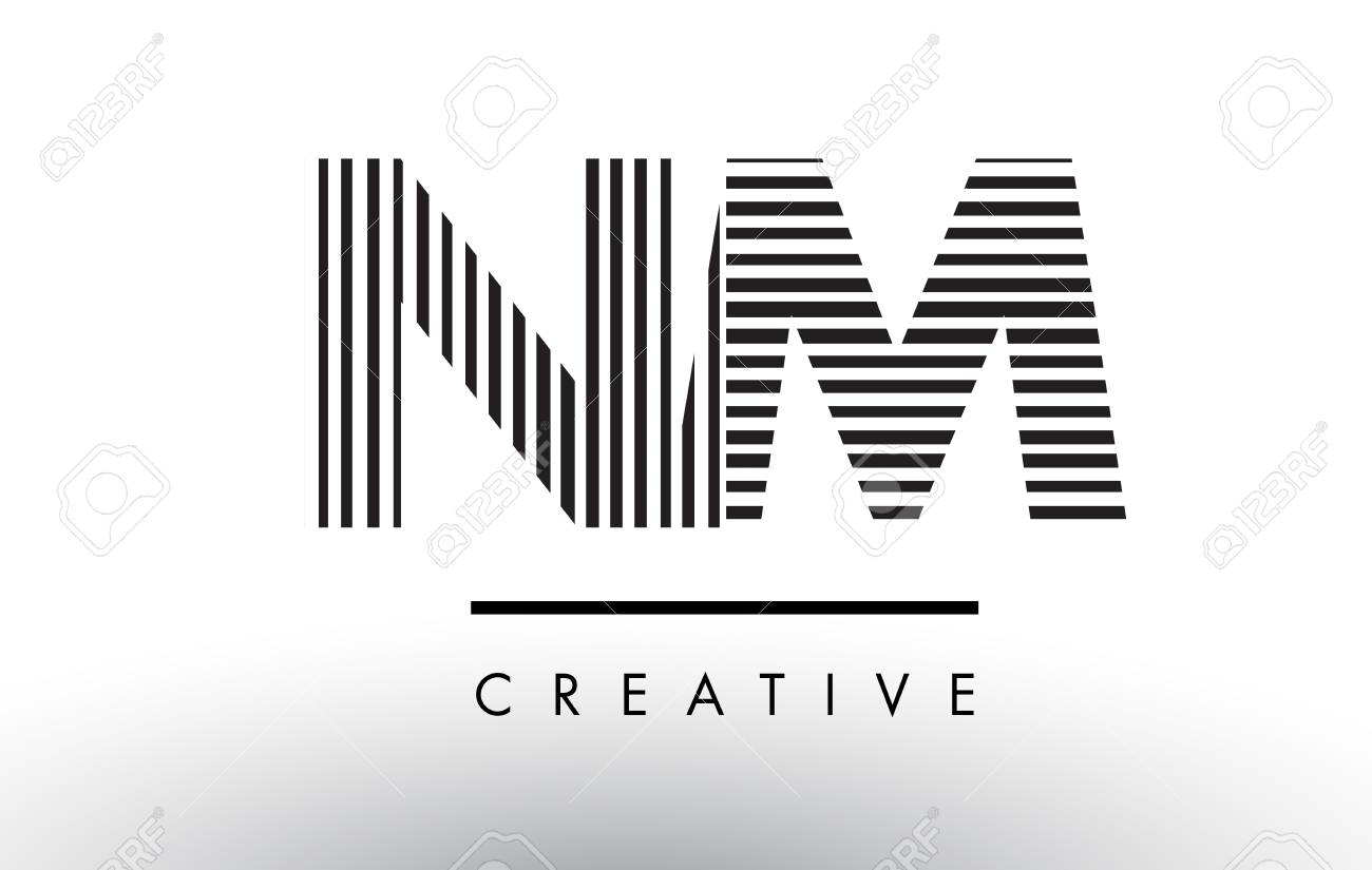 Nm N M Black And White Letter Logo Design With Vertical And