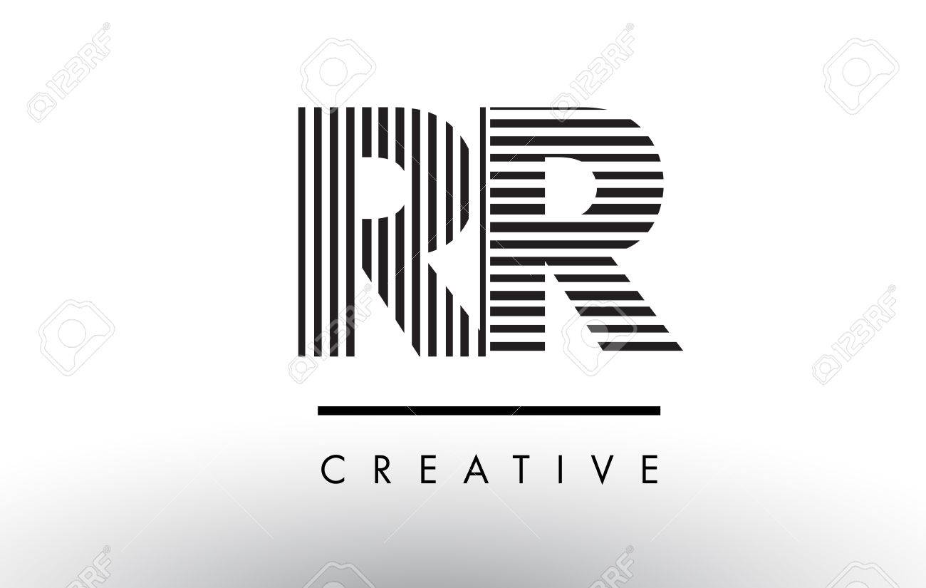 rr r black and white letter logo design with vertical and horizontal