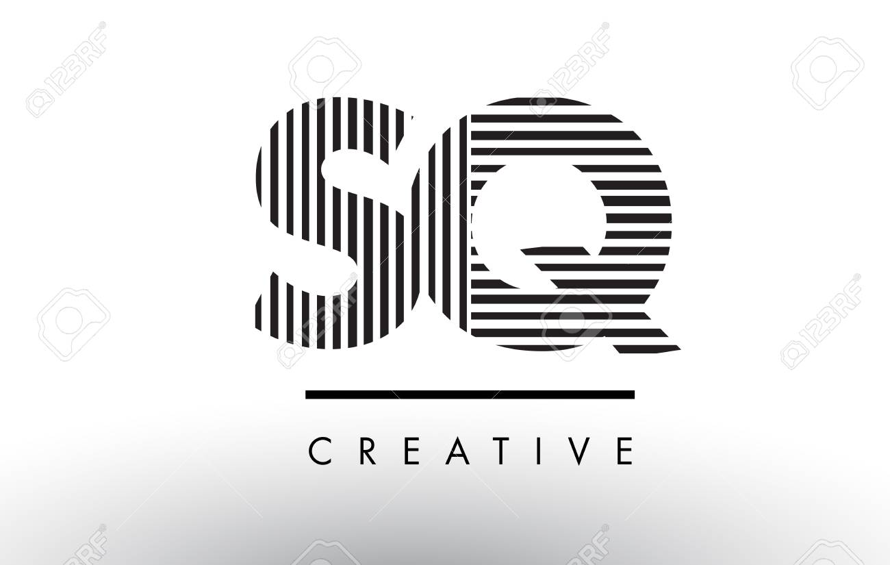 Sq S Q Black And White Letter Logo Design With Vertical And
