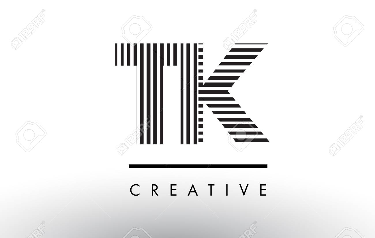 TK T K Black and White Letter Logo Design with Vertical and Horizontal Lines. - 79312855