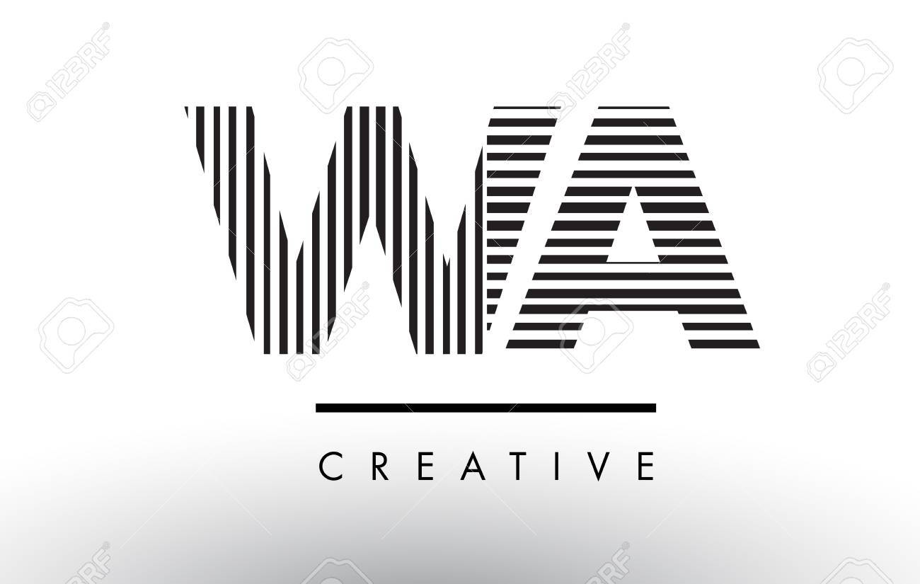 Wa W A Black And White Letter Logo Design With Vertical And