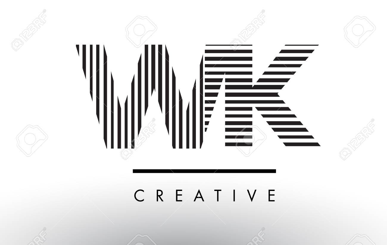 Wk W K Black And White Letter Logo Design With Vertical And