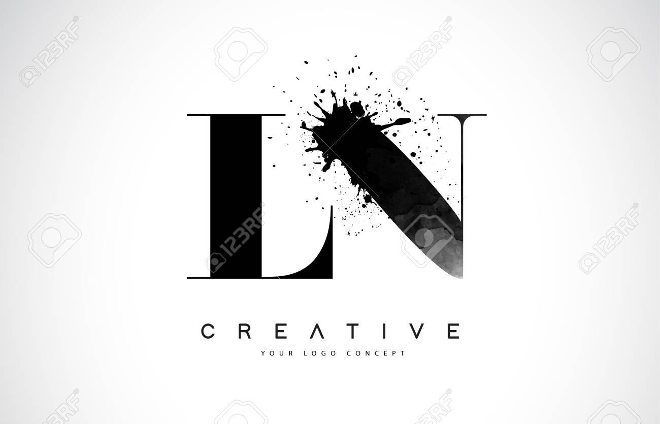L N Letter Logo Design with Black Ink Splash Spill Vector Illustration. - 106755340