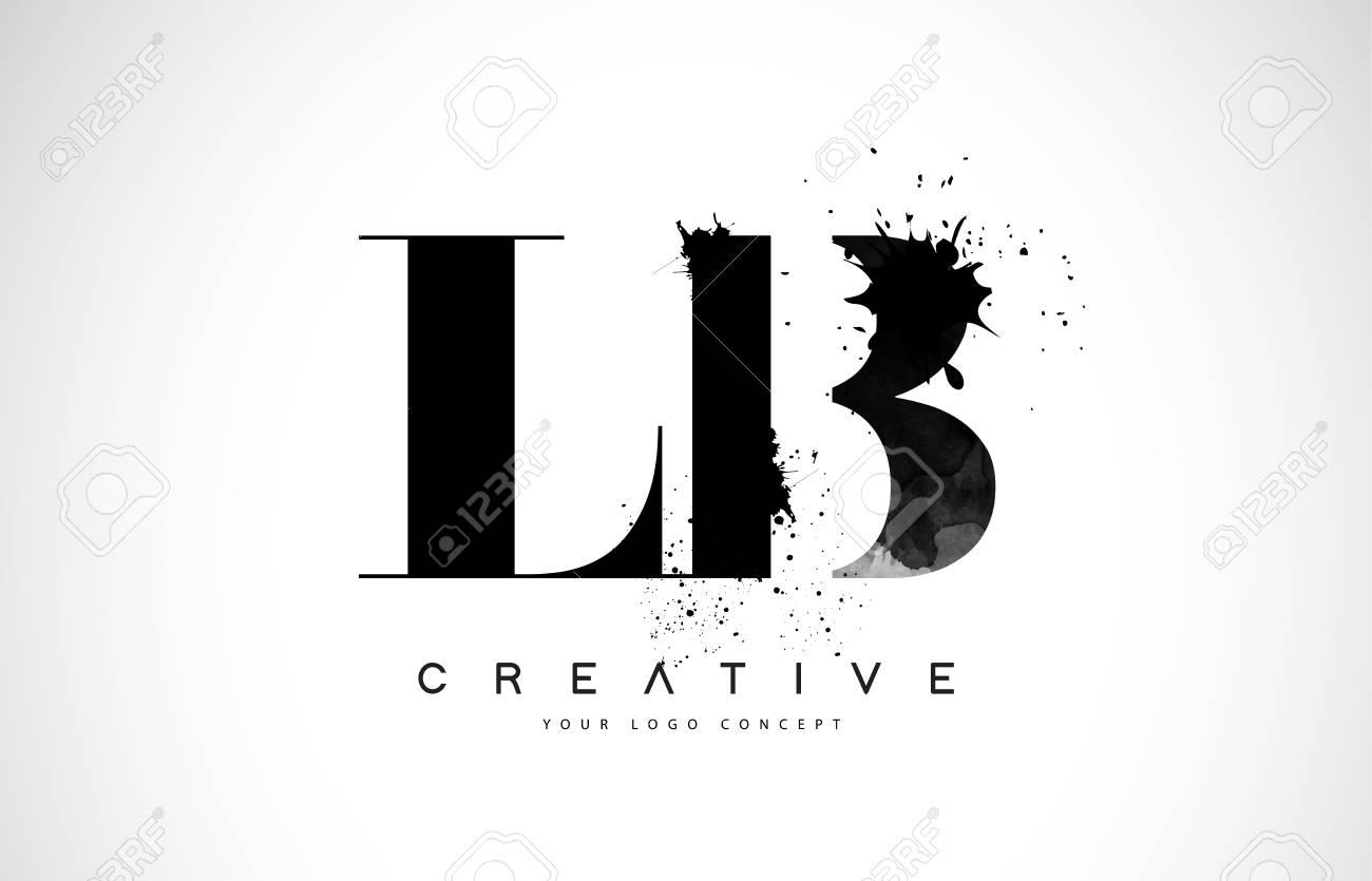 LB L B Letter Logo Design with Black Ink Splash Spill Vector Illustration. - 106755343