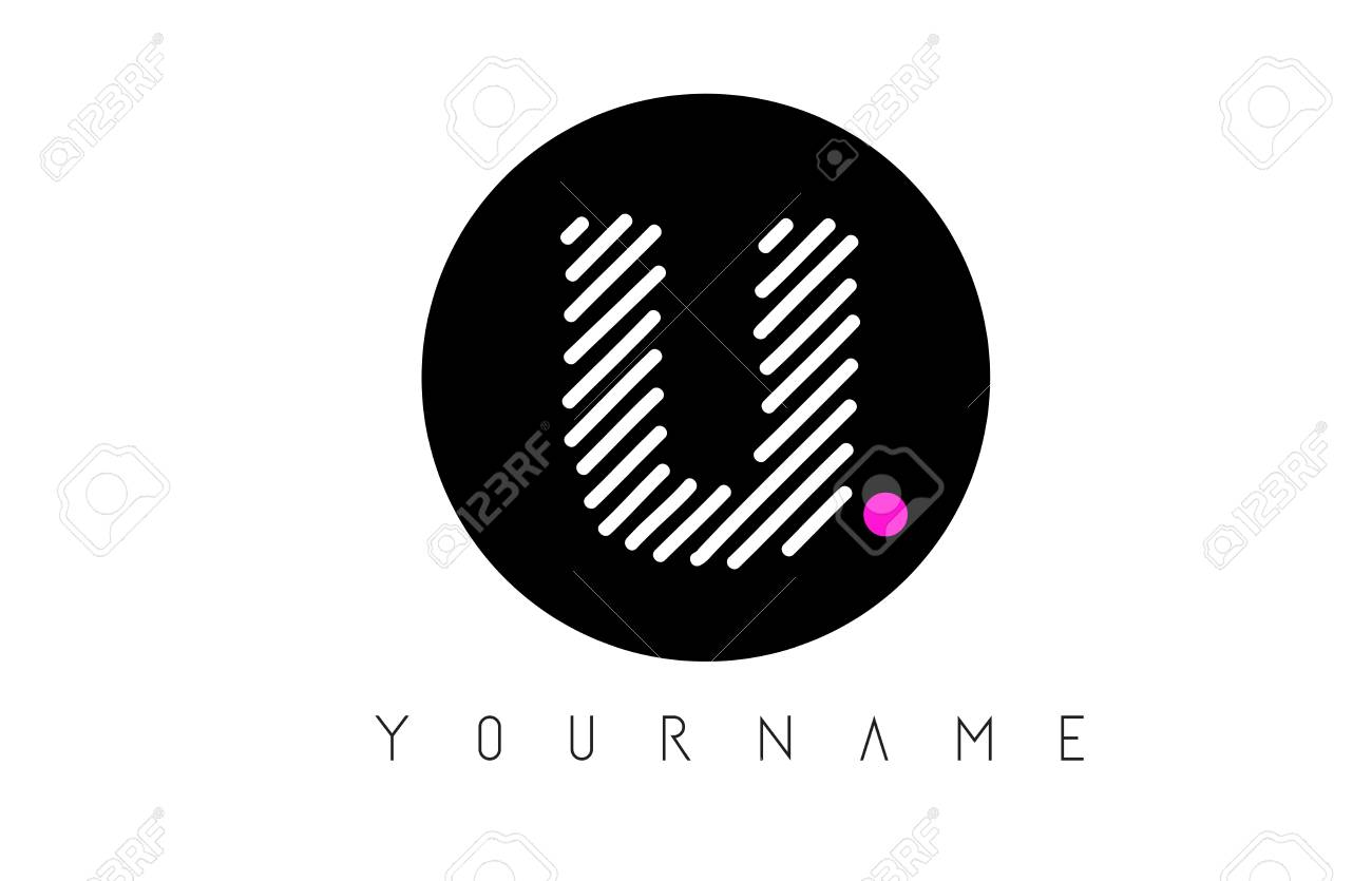 U Letter Logo Design With White Lines And Black Circle Vector