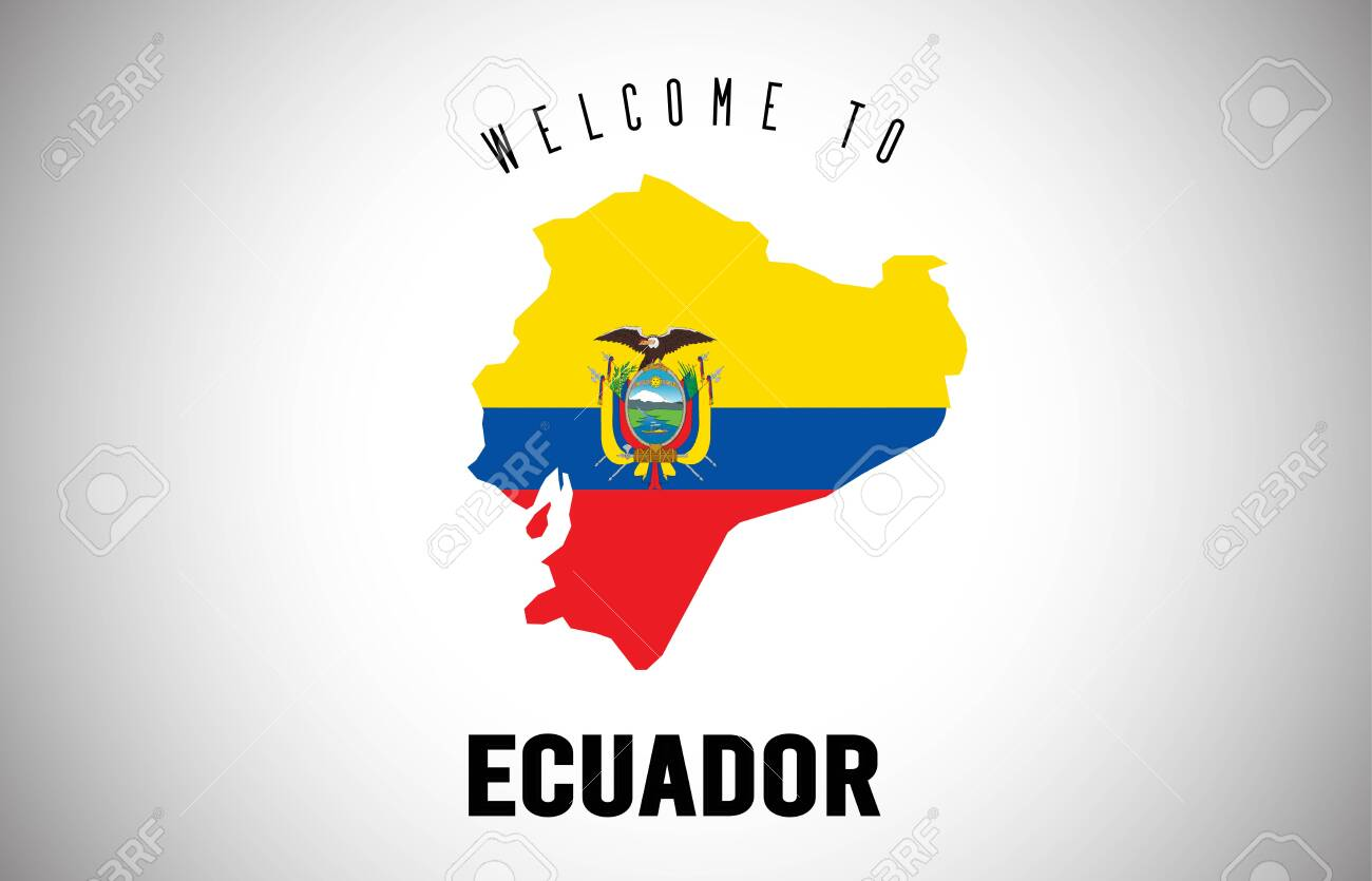Ecuador Welcome to Text and Country flag inside Country Border Map. Uruguay map with national flag Vector Design Illustration. - 124227225