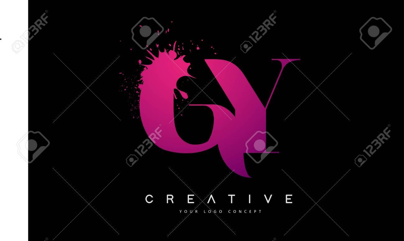 Purple Pink GY G Y Letter Design with Ink Splash Spill Vector Illustration. - 122789889