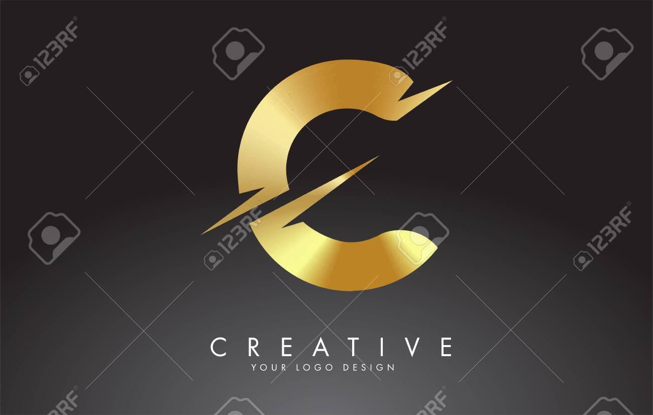 Golden C letter logo design with creative cuts. Creative vector illustration. - 145284307