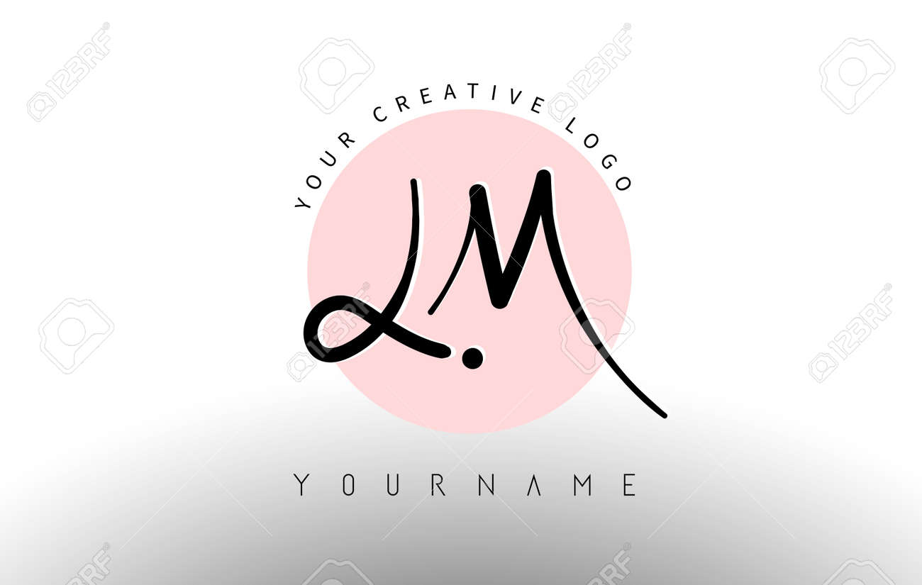 Handwritten Letters LM l m Logo with rounded lettering and pink circle background design. Creative Stamp Vector Illustration with letters L and M. - 168106724