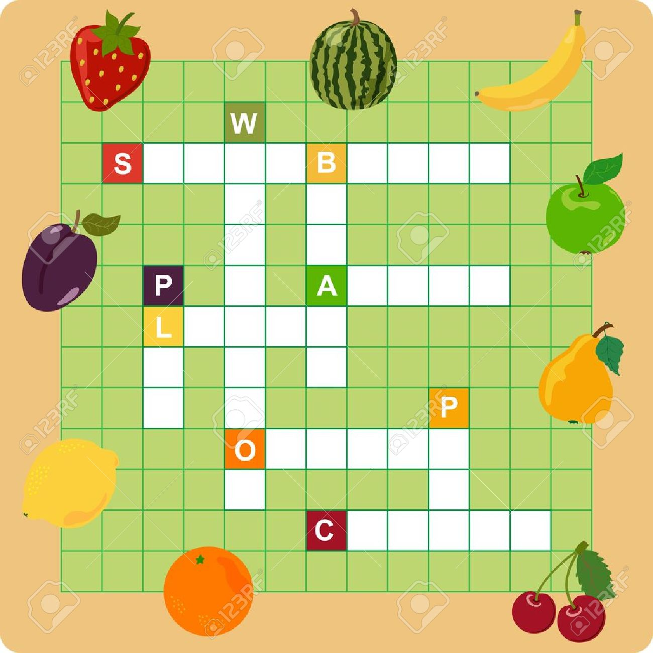 Fruit Crossword, Words Game For Children Royalty Free Cliparts ...