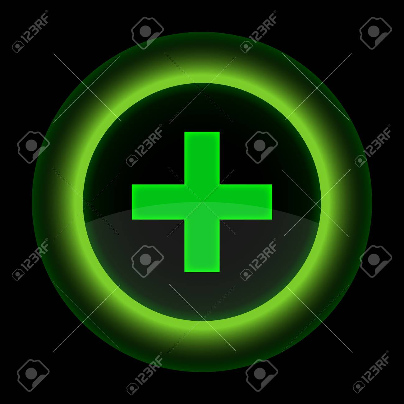 Green glossy web button with addition sign. Shape icon on black background. 10 eps Stock Vector - 13498452