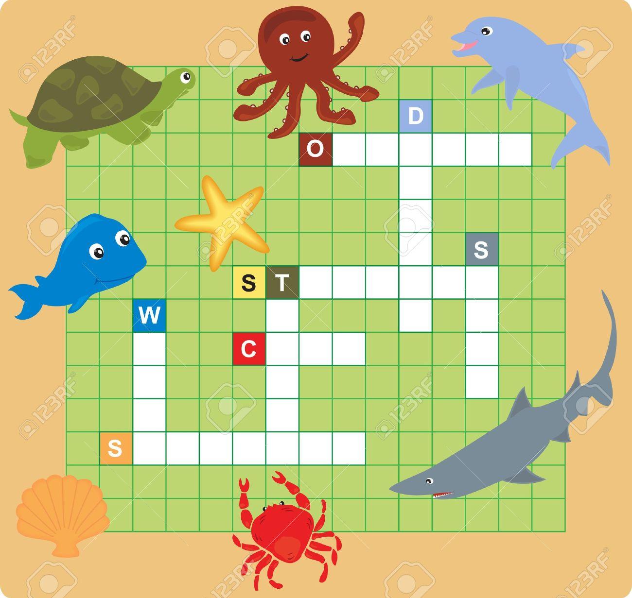 sea animal puzzle (crossword), words game for children. Stock Vector - 13896784