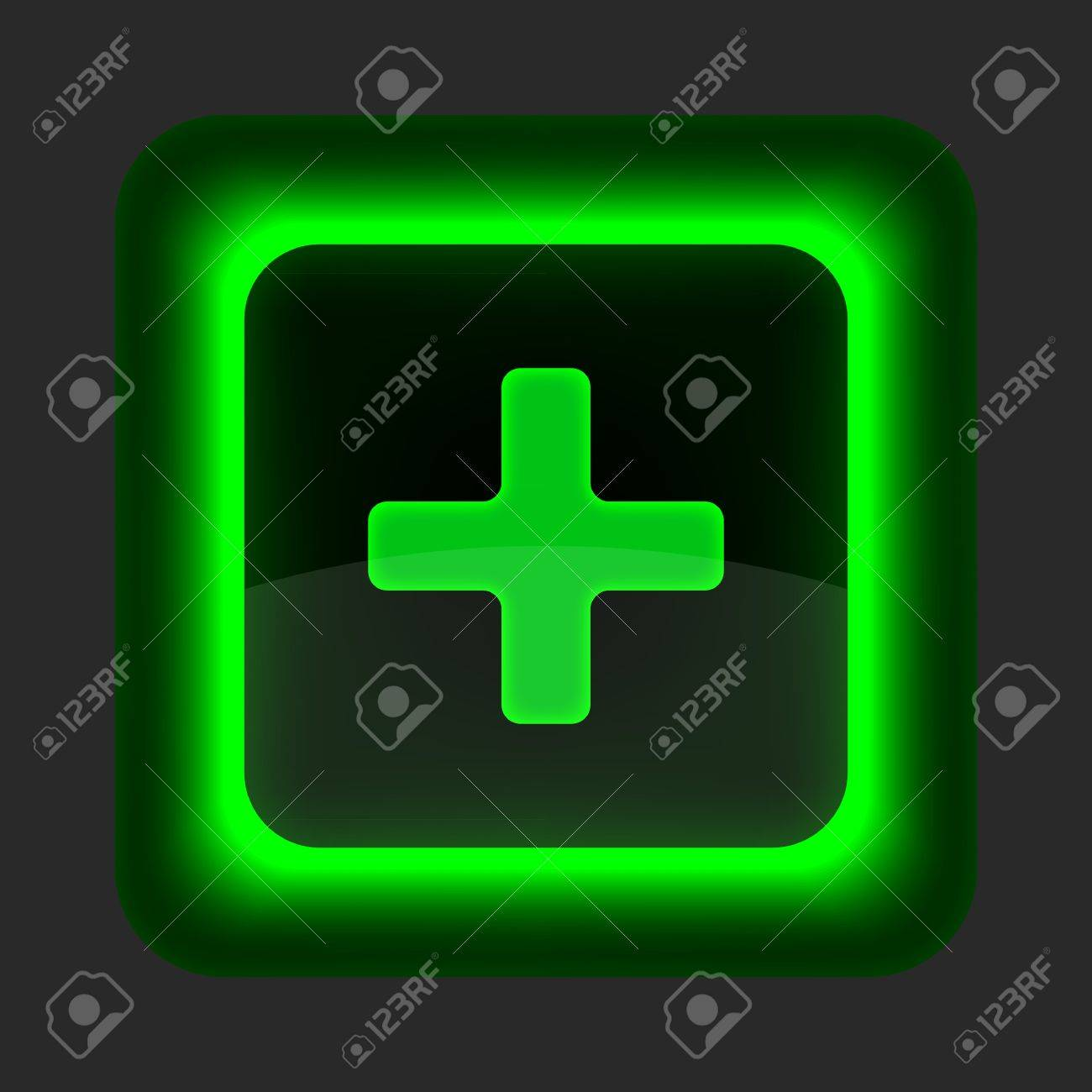 Green glossy web button with addition sign. Rounded square shape icon on gray background Stock Vector - 14698753