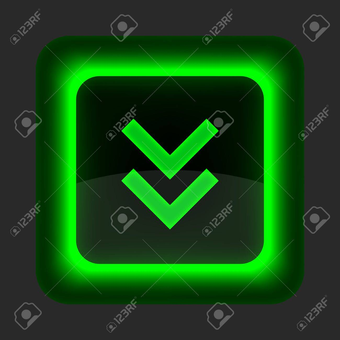 Green glossy internet button with arrow download symbol. Rounded square shape icon on gray background Stock Vector - 14698756