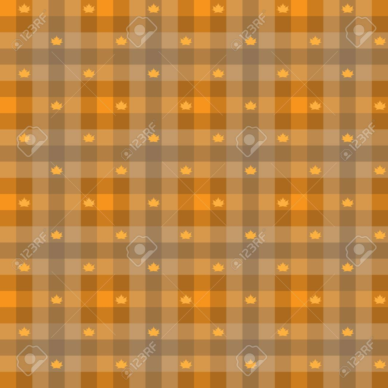 vector - Leaf maple   Gingham Seamless Pattern  Old fashioned design in orange color Stock Vector - 15117402