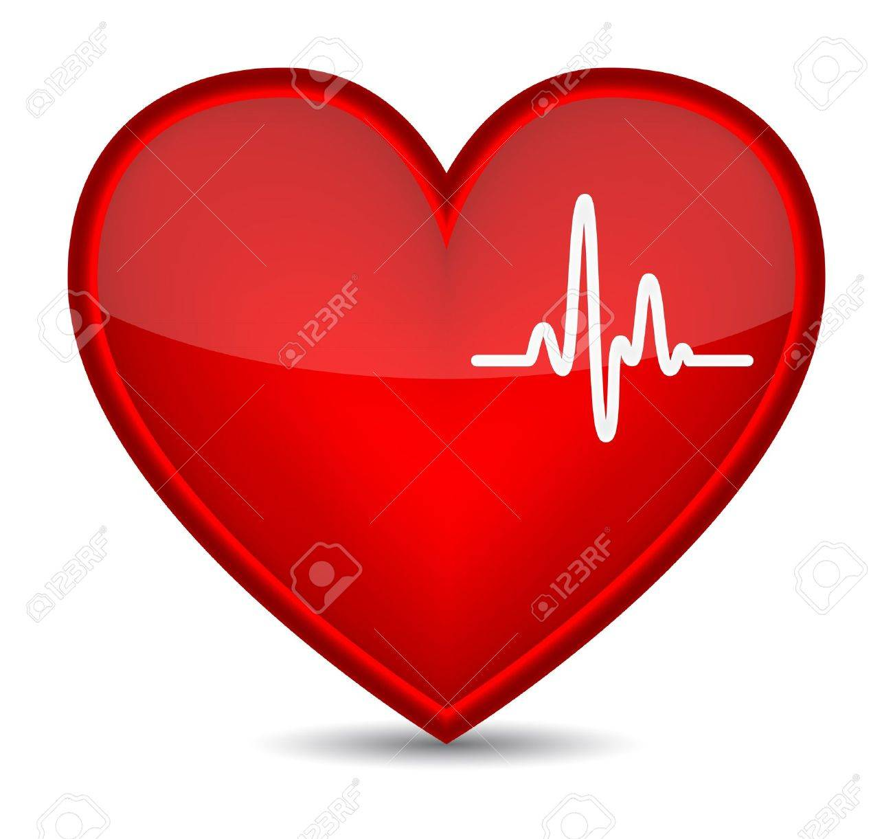 Cardiogram on red heart shape. Vector illustration - 15481347