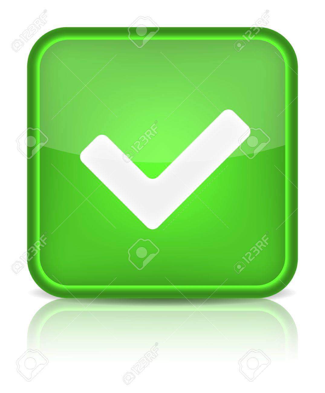 Green glossy web button with check mark sign  Rounded square shape icon on white background Stock Vector - 15481345