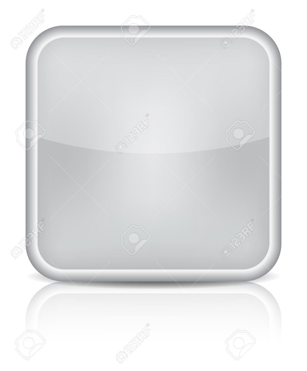 Gray glossy blank internet button. Rounded square shape icon on white background. Stock Vector - 16464284