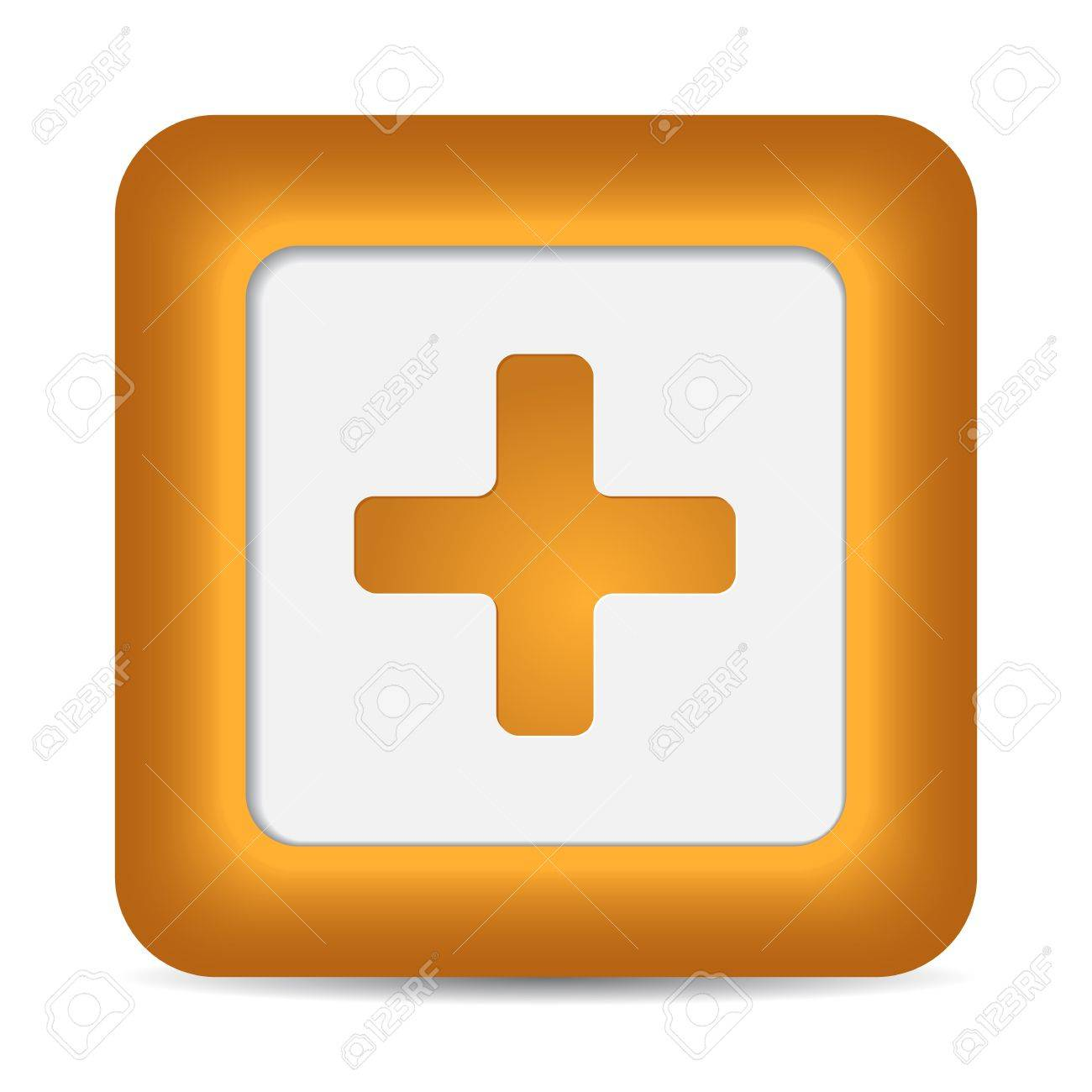 Orange glossy web button with addition sign. Rounded square shape icon on white background. Stock Vector - 16924205