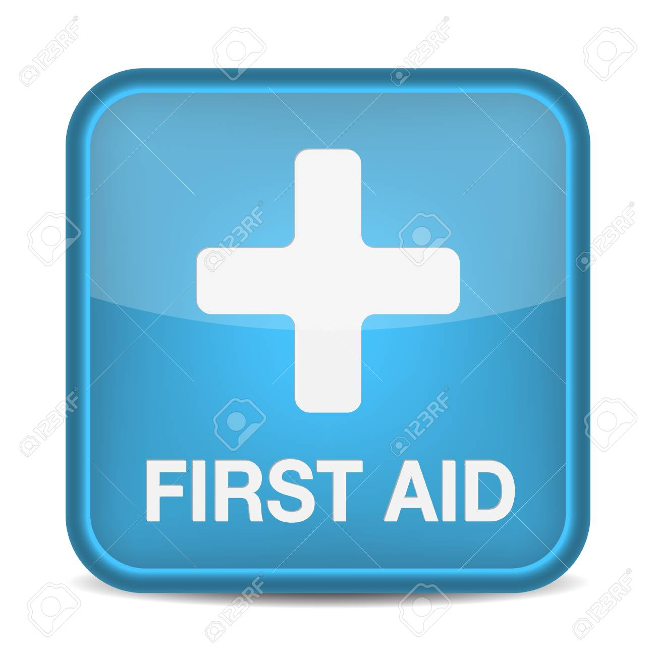 First aid medical button sign isolated on white. illustration Stock Vector - 17885257