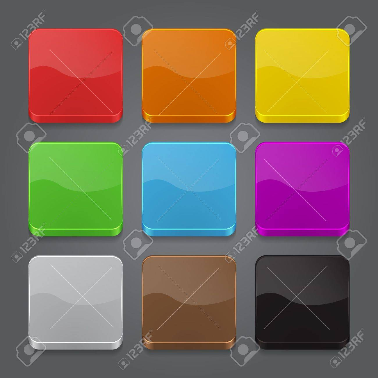 App icons background set. Glossy web button icons. Vector illustration Stock Vector - 18846742