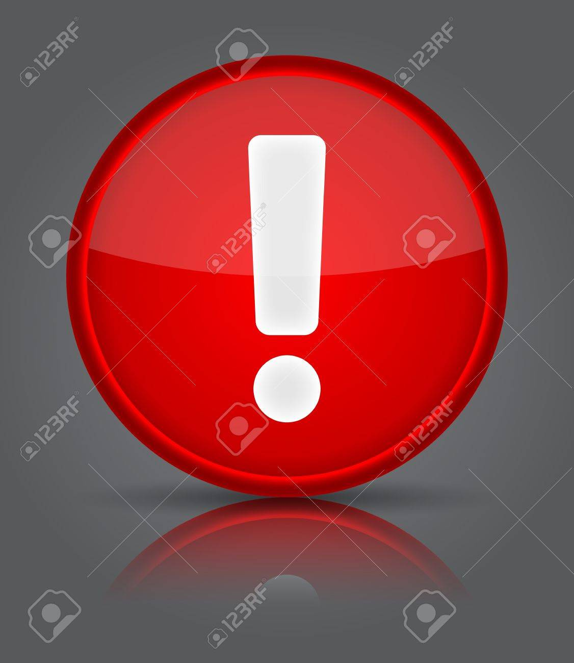 Red glossy web button with attention warning sign. Shape icon on grey background. Stock Vector - 20502094