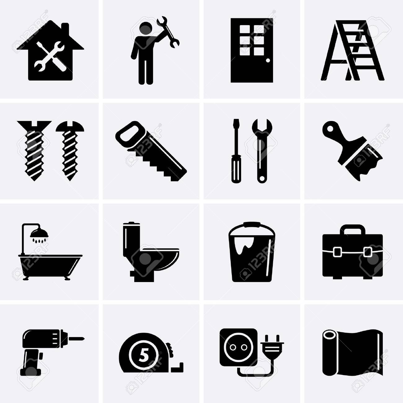 BHome repair and tools icons - 29138266