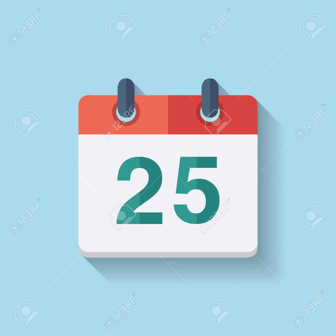 Flat calendar icon with the date 25th - 32609005