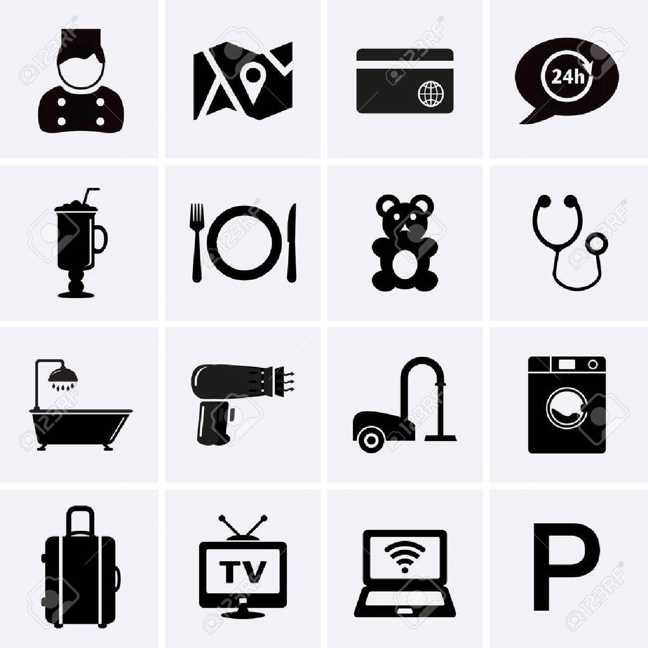 Hotel Services and Facilities Icons. Set 1. Vector - 38722724