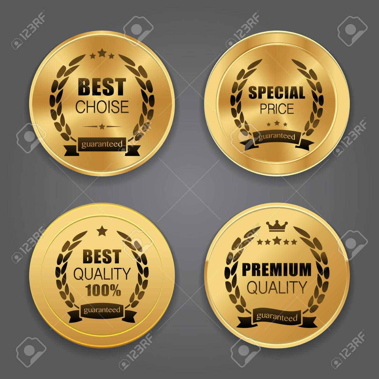 Golden metal badges. Label collection - 47432052