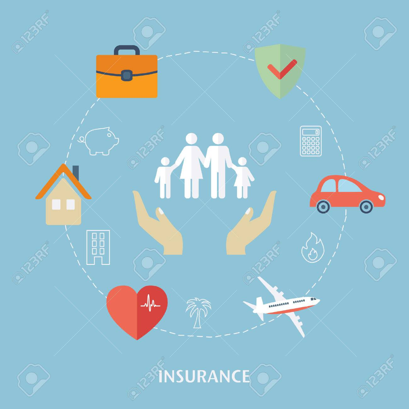 Concept for insurance icons. Flat design vector for web - 47432504