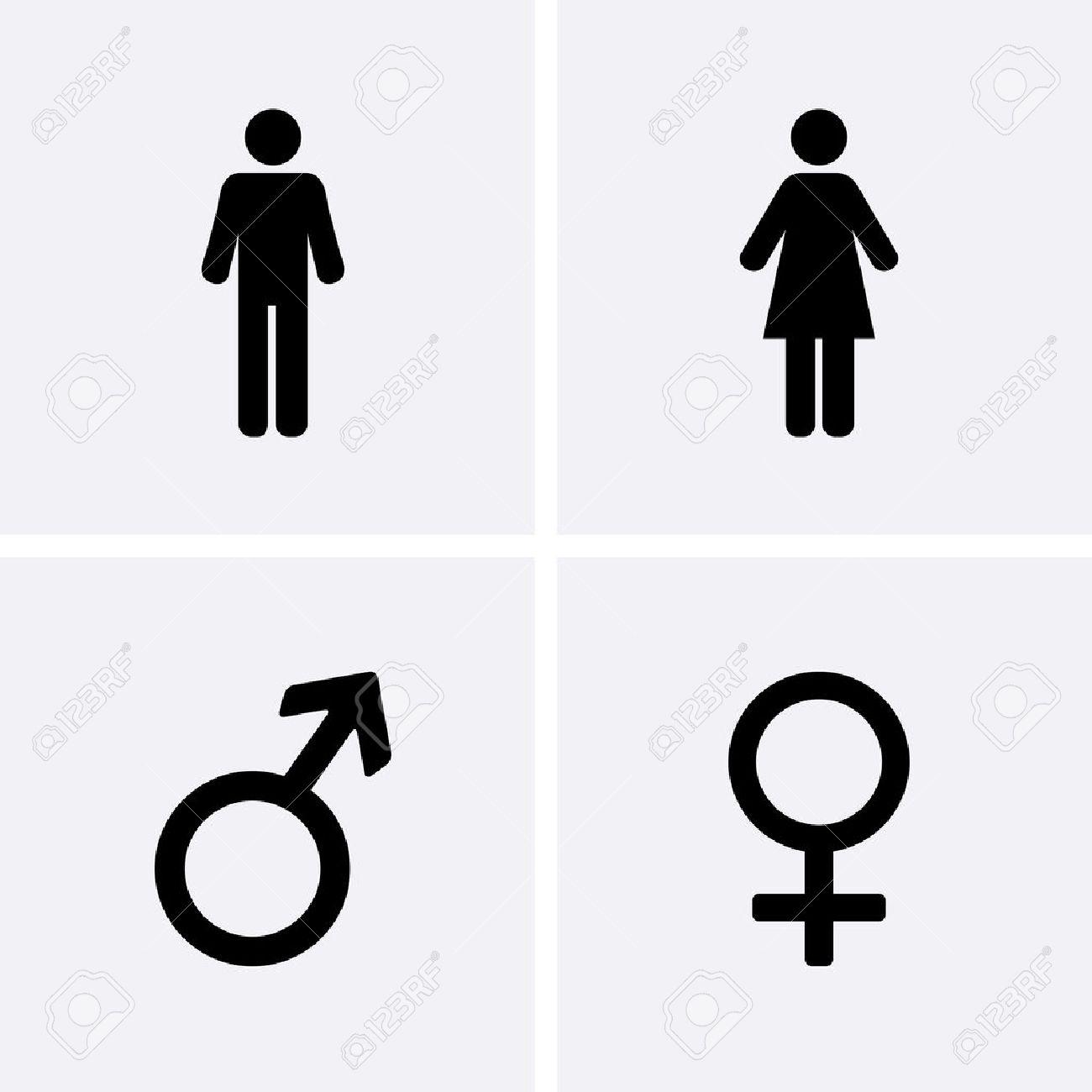 Los Iconos De Los Baños Hombre Mujer Varón Y Hembra Símbolo