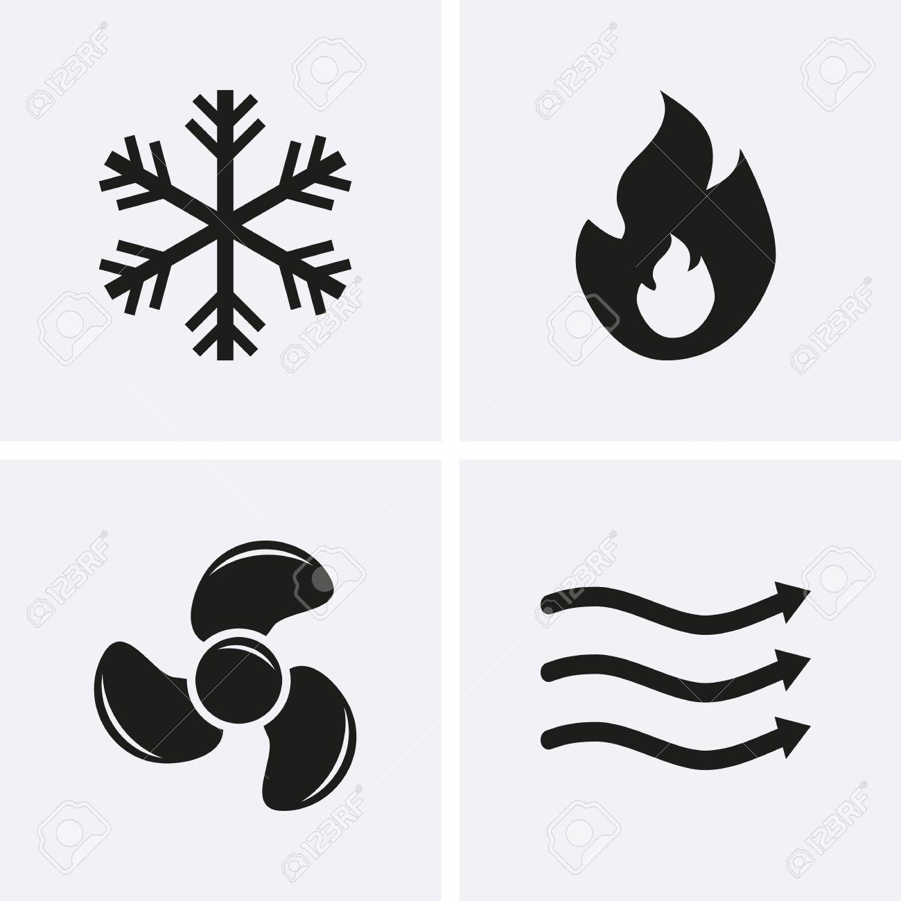 HVAC (Heizung, Lüftung Und Klimaanlage) Icons. Heiz- Und Kühltechnik ...