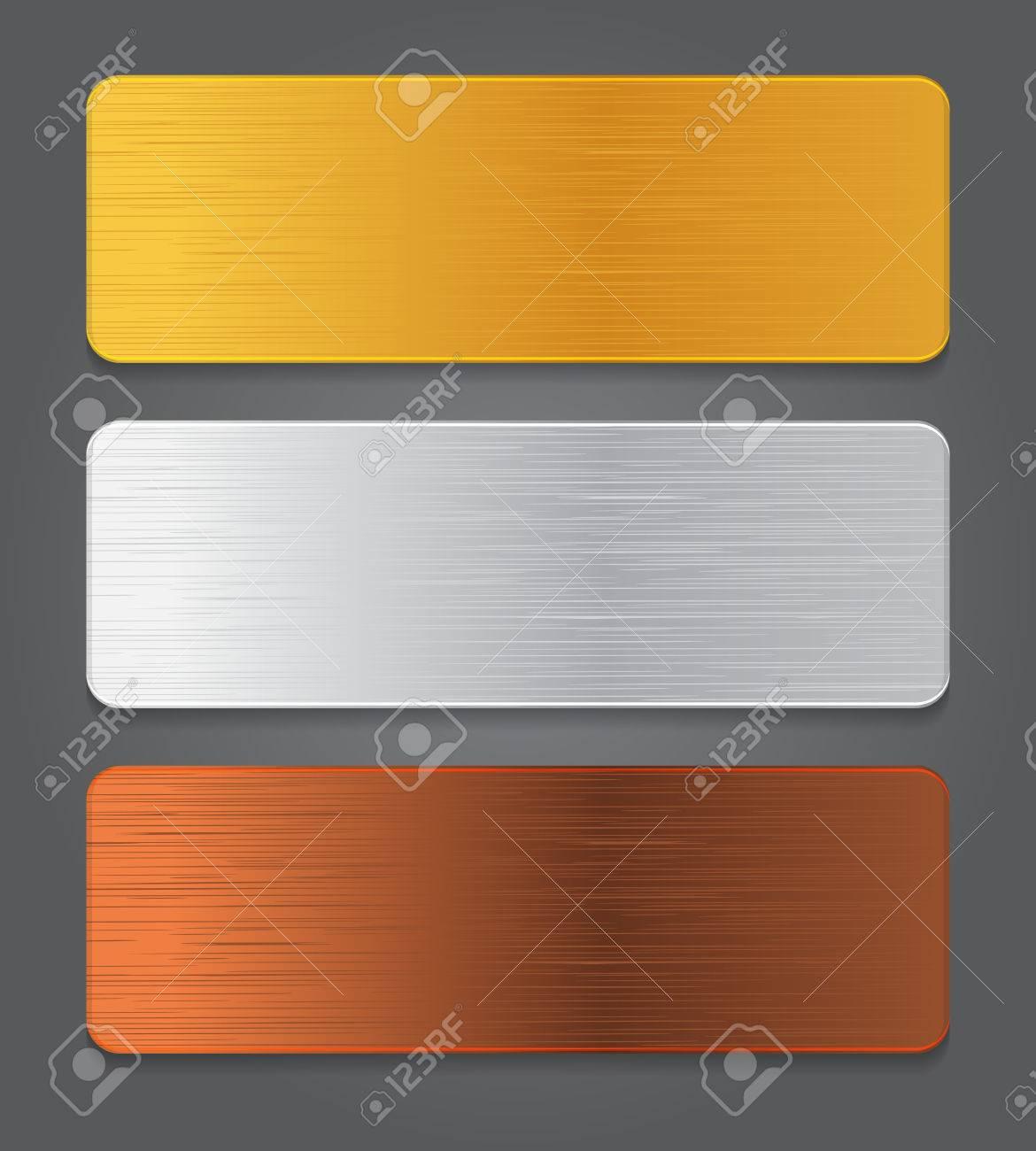 Metal button icons  Gold, silver, bronze app button