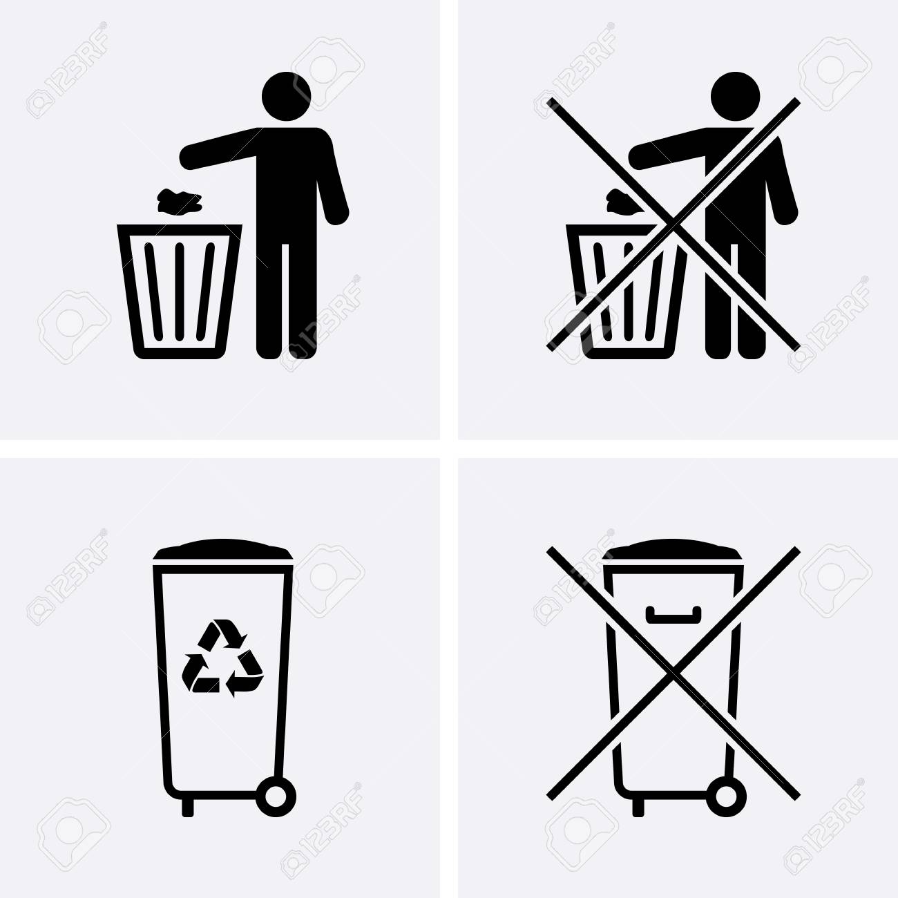 Trash Can Icons Bin Icons Do Not Litter Waste Recycling Vector
