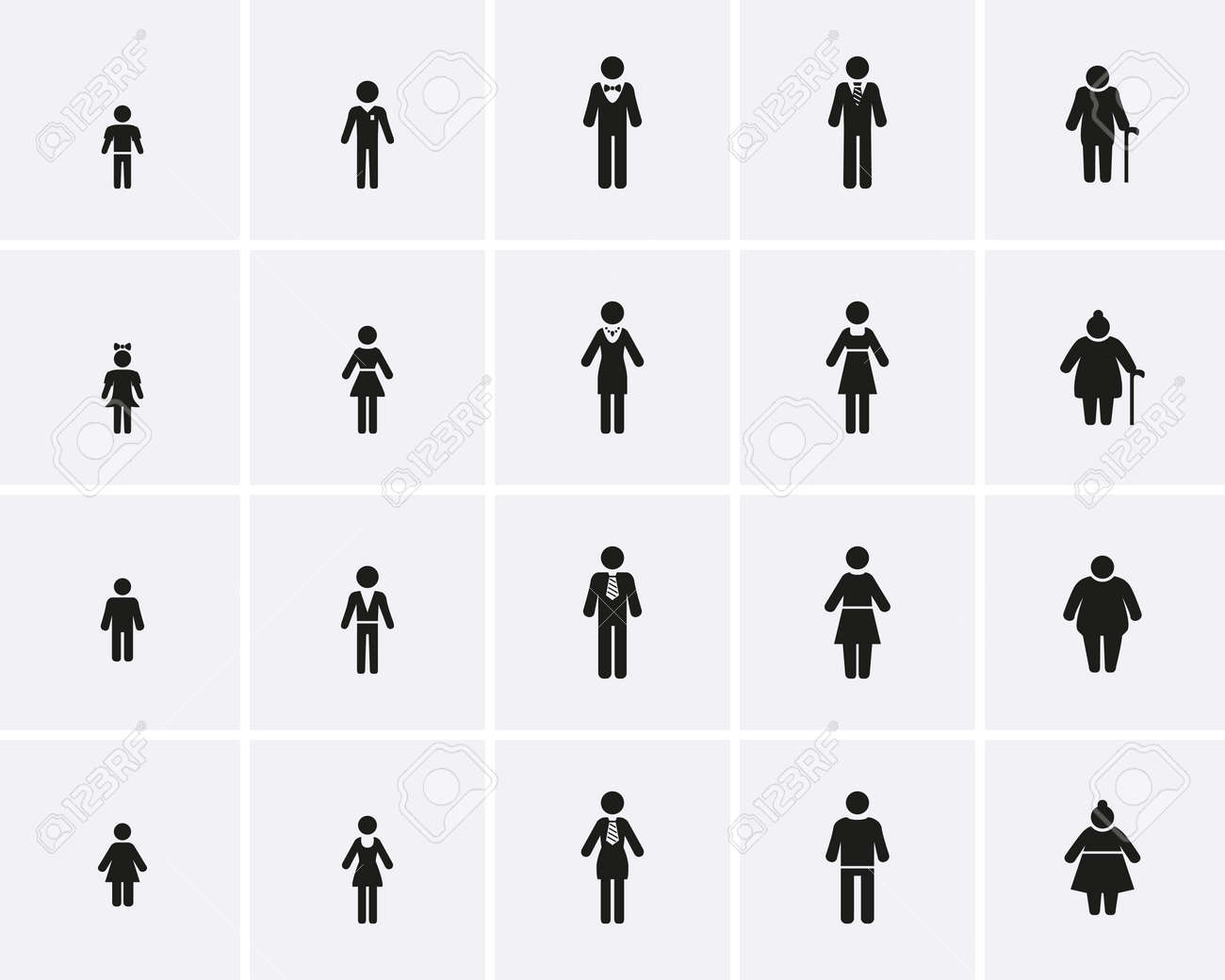 Family Icons. Lifecycle from birth to old age, Vector icon set. - 167833159